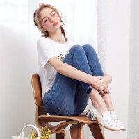 【1件2.5折到手价:29.8】美特斯邦威ins小脚牛仔裤女夏装新款铅笔裤打底裤韩版裤子