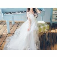 一字肩网纱刺绣蕾丝连衣裙女夏长裙显瘦大摆海边度假沙滩长裙仙女 白色