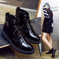 冬季短筒马丁靴女加绒皮面短靴高帮皮鞋女平底韩版学生英伦小皮鞋 TBP