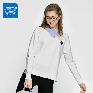 真维斯女装 2018春装 假两件长袖针织衫潮