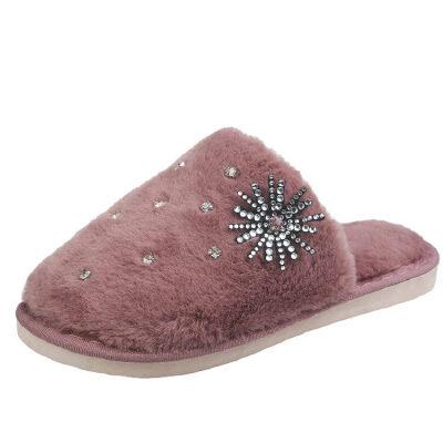 WARORWAR新品YM12-1843冬季韩版平底鞋舒适水钻女鞋潮流时尚潮鞋百搭潮牌毛拖鞋