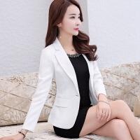 小西装外套女2018春秋装新款韩版修身短款显瘦休闲小西服女士上衣 白色 正常码