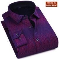 冬季中年男士保暖衬衫长袖格子加厚加绒保暖衬衣中老年休闲爸爸装