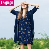 Lagogo/拉谷谷2018夏季新款时尚轻透小翻领中长款外套HAWW734A34