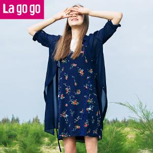 【清仓3折价107.7】Lagogo/拉谷谷2019夏季新款时尚轻透小翻领中长款外套HAWW734A34