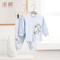 婴儿纯棉衣服肩扣套装男女宝宝长袖内衣新生儿两件套3488