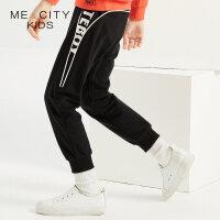【1件3折到手价:67.5】米喜迪mecity童装秋新款男童侧缝字母嵌条细节针织长裤