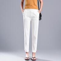 哈伦裤女裤子夏季薄款九分棉麻休闲2018新款宽松亚麻显瘦韩版白色