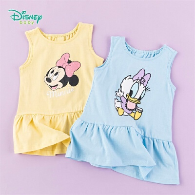 【99元3件】迪士尼Disney童装 女童连衣裙米妮印花背心裙2020年夏季新品女孩外出荷叶边裙子俏皮可爱 亲肤透气,夏日清爽穿着不闷汗