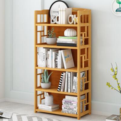 幽咸家居 儿童书架置物架 简易书柜桌上书架简约落地学生用楠竹小书架省空间