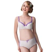 孕妇内衣套装可爱公主风系列紫色波点防下垂 哺乳文胸 中高腰内裤内衣套装 紫色波点