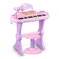 儿童电子琴宝宝礼物带麦克风凳子小孩多功能钢琴女孩音乐玩具