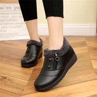 平底�底女鞋秋冬款孕�D鞋冬季加�q黑色工作鞋����鞋大�a皮鞋短靴