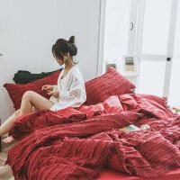 ins网红韩国棉流苏全棉四件套少女被套1.8米剪花纯棉春夏床上用品单人床被子三件套全套四件套