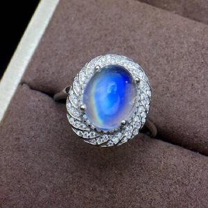 纯天然玻璃体蓝月光石戒指.