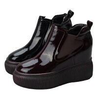 欧洲站内增高单靴女鞋2018秋冬新款厚底短靴百搭踝靴松糕马丁靴子
