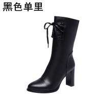 黑色马丁靴女2018新款冬季女鞋高跟中筒靴子真皮靴女短筒粗跟短靴软底