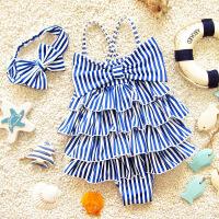 儿童泳衣女孩3-6岁女童泳衣4幼儿5连体平角6公主6-8岁小童游泳衣 蓝色