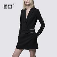 魅斑西装领高冷御姐风黑色连衣裙欧洲站女装修身气质显瘦一步裙
