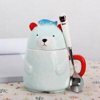 创意3D立体可爱卡通陶瓷马克杯子带盖带勺喝水杯牛奶咖啡杯麦片杯a233
