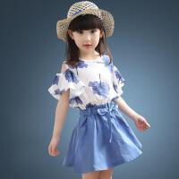 童装2018夏季新款女童枫叶套装中大童露肩上衣+韩版短裙两件套