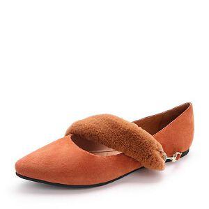 Belle/百丽2018春新品羊皮革/兔毛女尖头浅口单鞋皮鞋99601AQ8
