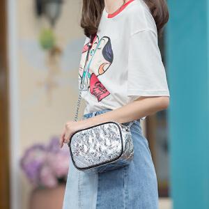 toutou2017夏季新款单肩斜挎包金属色菱格链条包个性时尚迷你小包包