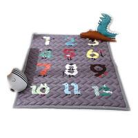四季加厚宝宝爬行垫防滑儿童地垫游戏毯折叠榻榻米布质婴儿爬爬垫 浅灰色 加厚--数字游戏 145*195cm长方形