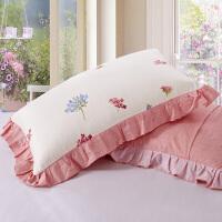 ???枕套一对纯棉48x74cm全棉简约枕头套单人花边枕 乳白色 小清新花边枕套 48cmX74cm