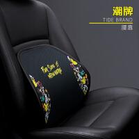汽车腰靠护腰靠垫腰垫钢丝座椅腰枕司机车用车载背靠头枕卡通套装