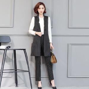 风轩衣度 套装/套裙纯色时尚排扣气质西装领长袖韩版简约2018年春季新款 2312