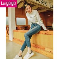 Lagogo2017冬季新款高腰铅笔裤破洞长裤小脚裤子显瘦纯色牛仔裤女