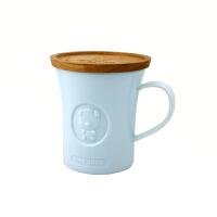情侣杯子一对创意简约办公室水杯马克杯带盖家用奶咖啡杯陶瓷杯7241 果冻蓝-大号【芒果原木盖,原木颜色不一】