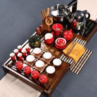 紫砂茶盘功夫茶具整套装组合红色结婚庆陶瓷器茶艺办公室家用