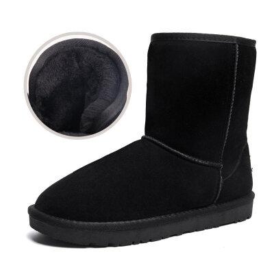 雪地靴男冬季保暖加绒加厚女靴子防滑男士面包鞋真皮中筒棉鞋男鞋