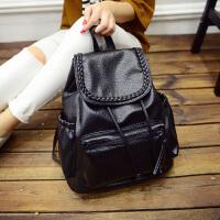 韩版水洗时尚小辫双肩包女包学生书包背包旅行包大休闲潮包