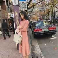 2018秋冬季新款法式少女高领毛衣长裙过膝针织连衣裙加厚打底冬裙