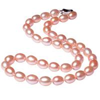 白色珍珠项链锁骨天强光然特水滴价椭圆形粉色淡水珍珠项链送妈妈