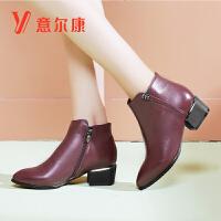 女鞋冬季新款牛皮革时尚异形跟尖头踝靴