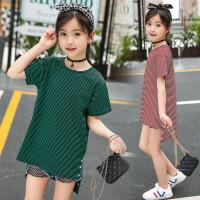 女童T恤中大童休闲圆领条纹上衣时尚女孩短袖潮