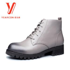 意尔康女靴2017冬季新款真皮英伦风高跟马丁靴粗跟圆头休闲踝靴