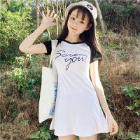 夏季女装韩版字母印花修身显瘦收腰中长款圆领短袖连衣裙学生短裙