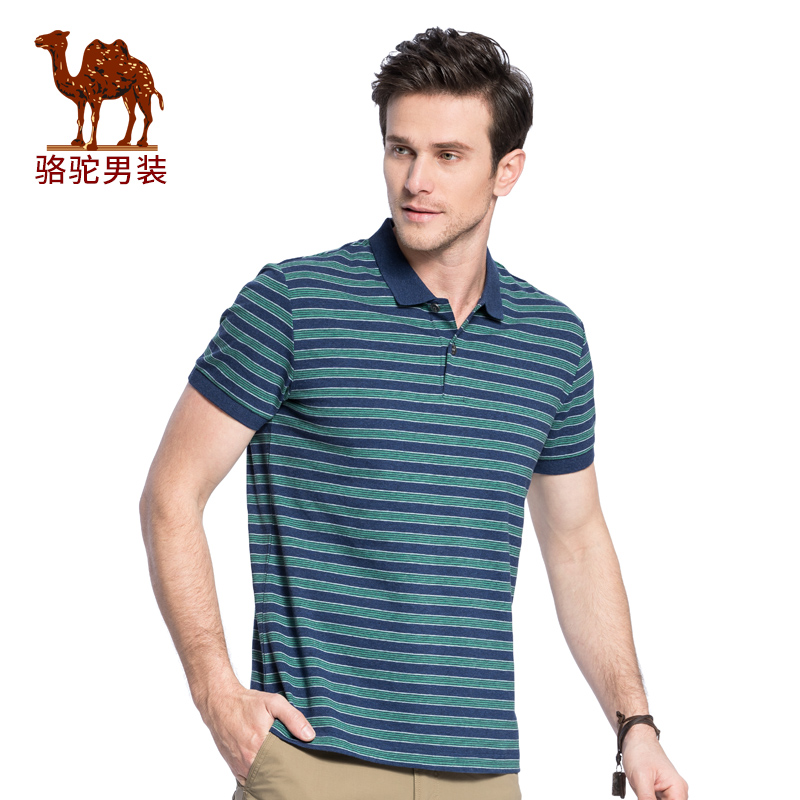 骆驼男装 2018夏季新款翻领条纹Polo衫青年舒适休闲t恤短袖