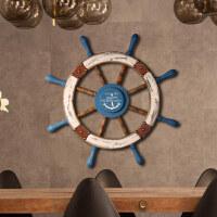 居家装饰挂件摆件美式地中海风格复古家居装饰品 航海舵手挂件 木质船舵摆件壁饰