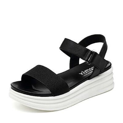 Teenmix/天美意2018夏时尚坡跟简约舒适女凉鞋CD304BL8