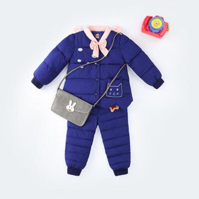 儿童羽绒套装保暖内胆上衣裤子两件套宝宝棉衣冬女童
