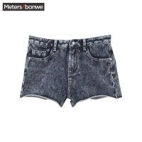 美特斯邦威牛仔裤女夏装新款时尚百搭毛边短裤25411商场同款