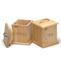 【支持礼品卡】收纳储物糖果罐子 橡胶木方形茶叶罐茶具7bo