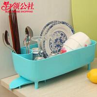 白领公社 沥水碗架 厨房用品碗碟沥水架餐具收纳架子厨房角架侧导流碗架碗具盘子沥水蓝子收纳盒
