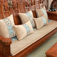 中式家具通用加厚冬季红木沙发坐垫木椅套四季实木防滑毛绒沙发垫 古韵 森咖